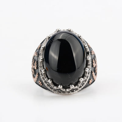 Oval Black Stone - 925 Sterling Silver Ring