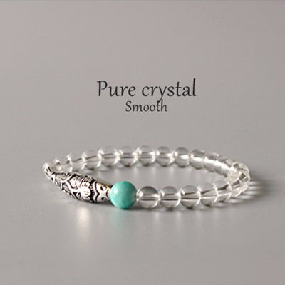 """Fish Under The Moon"" - Natural Crystal & Amazon Stone Bracelet"