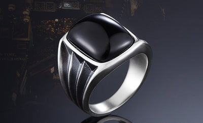Inlaid Big Natural Black Onyx Stone Ring - 925 Sterling Silver