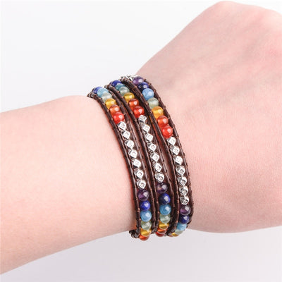 Handmade Leather Wrap Chakra Bracelet