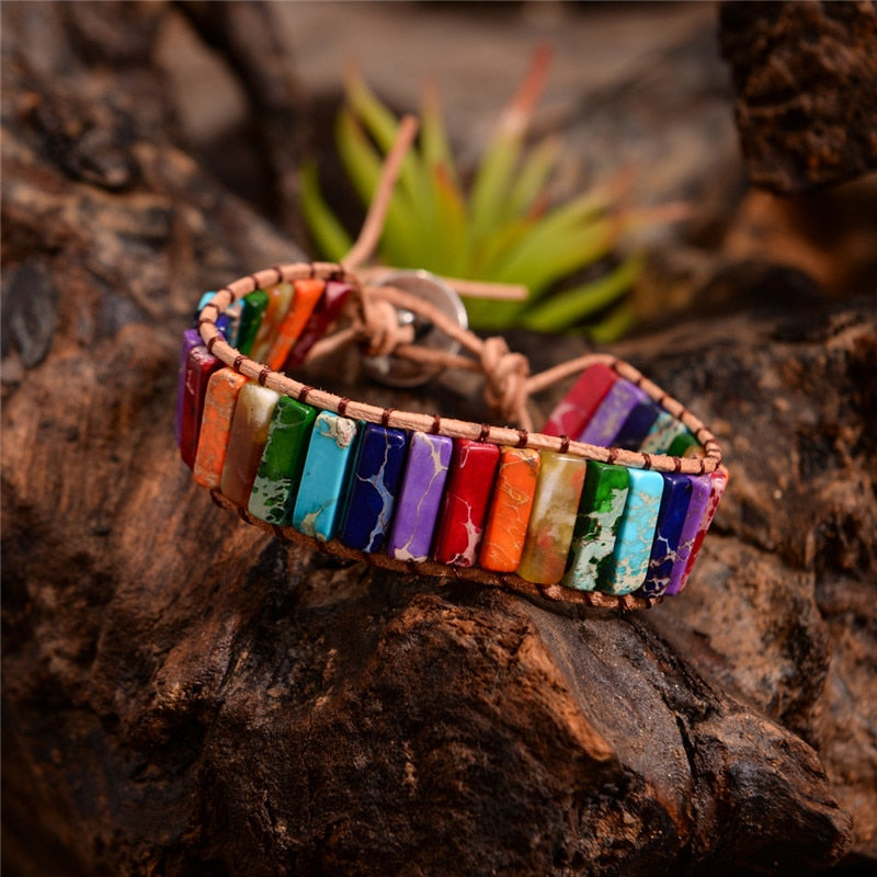 Handmade Leather Wrap Chakra Bracelet - Rectangular