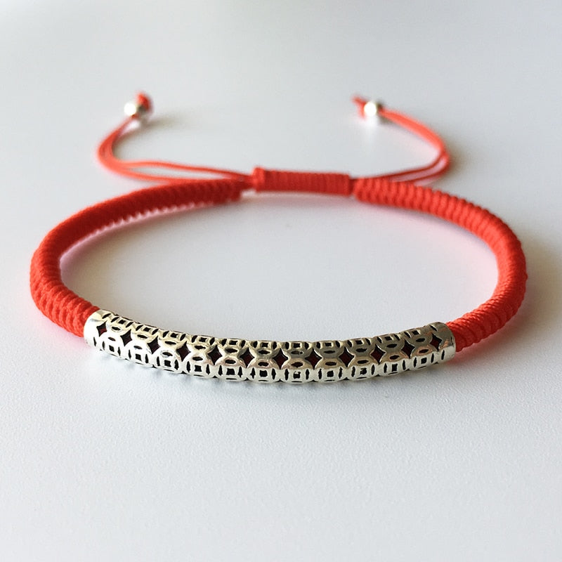 Mega Coin Symbol Lucky Red Rope Bracelet