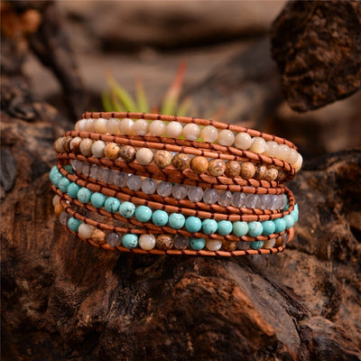 Handmade 5 Strands Natural Stone Leather Wrap Bracelet