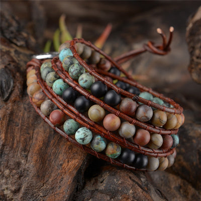 Handmade Triple India Stone Leather Bracelet