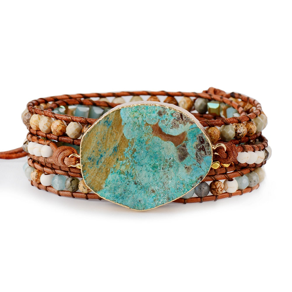 Handmade Ocean Jasper Leather Wrap Bracelet