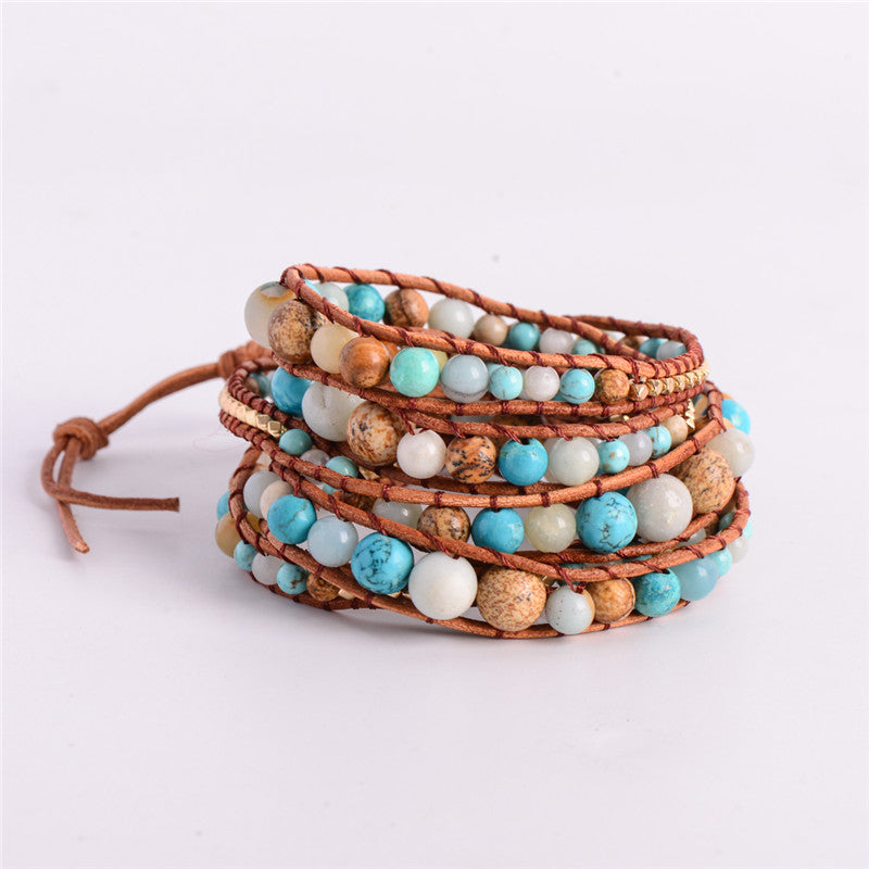Hanmade Amazonite Gold Leather Bracelet