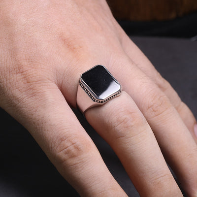 Imitated Black Stone Ring - Solid 925 Sterling Silver