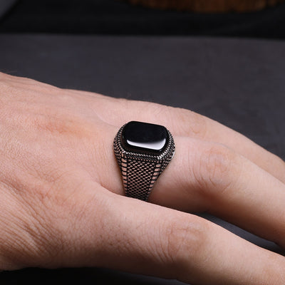 Turkey Natural Onyx Stone - S925 Silver Ring