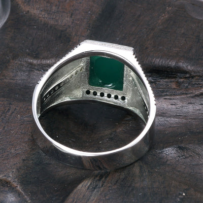 Black Green Red Imitated Stone Ring - 925 Sterling Silver