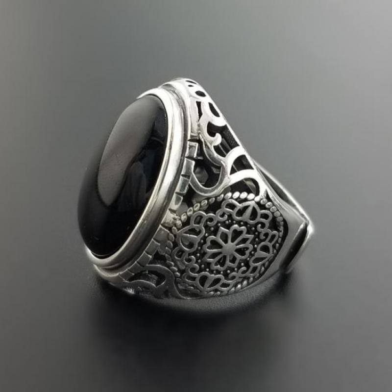 Black Onyx Stone Sliver Ring - Hollow Flowers Ring