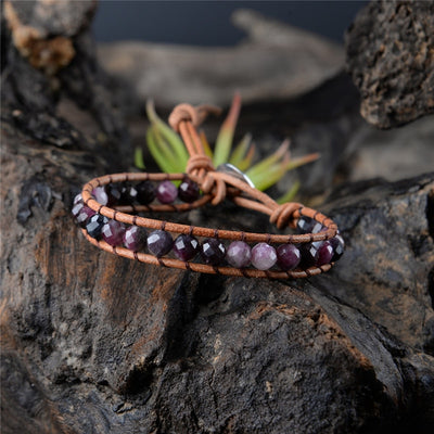 Handmade Tourmaline Leather Wrap Bracelet