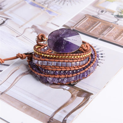 Handmade Amethyst Leather Wrap Bracelet