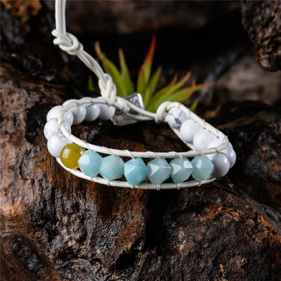 Bohemian Amazonite Leather Wrap Bracelet