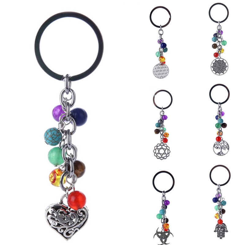 7 Chakras Tree of Life Keychain