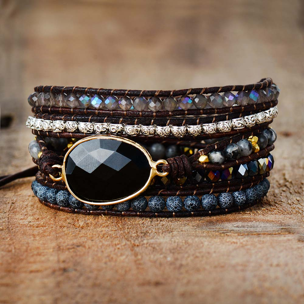 Natural Black Onyx Beaded Wrap Bracelet