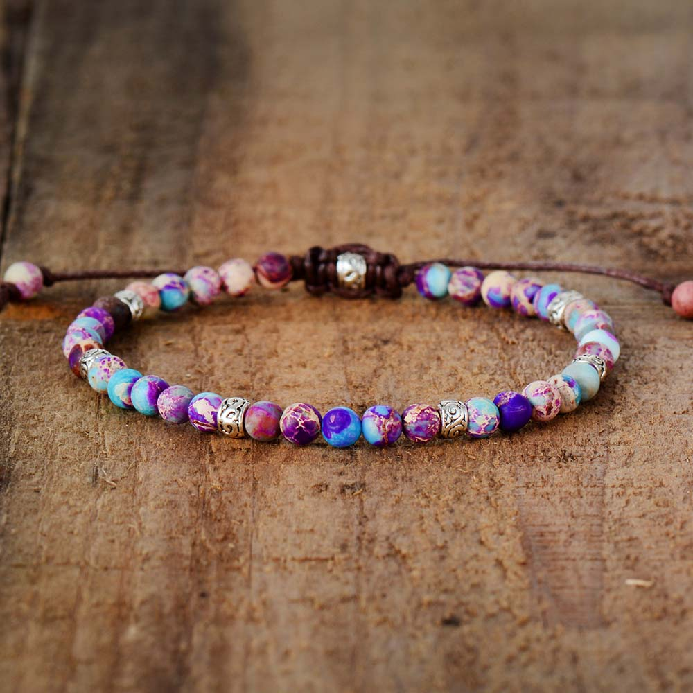 Handmade Purple Jasper Stone Adjustable Bracelet