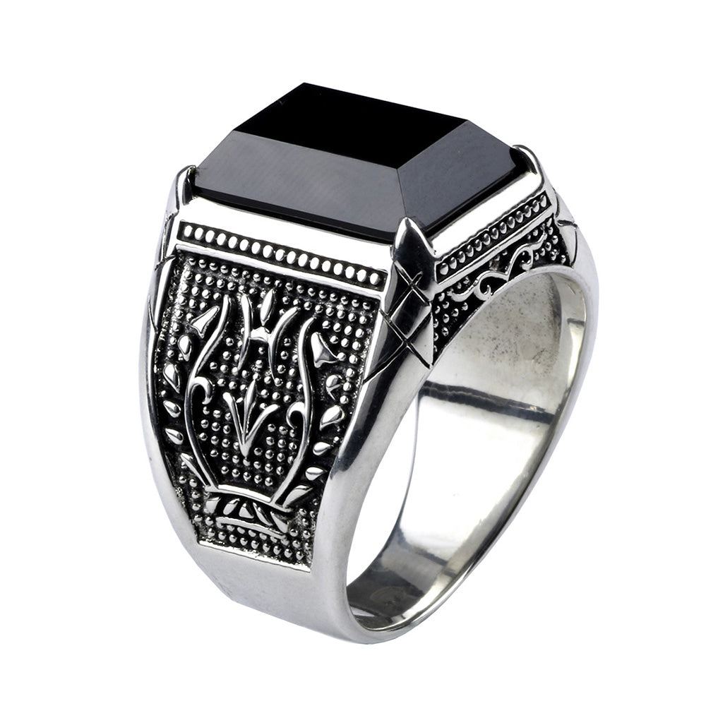 Black Zircon - 925 Sterling Silver Ring