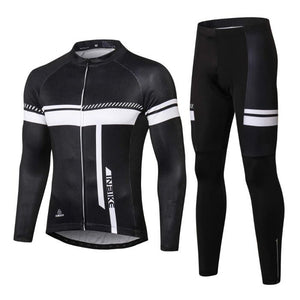 INBIKE Men's Long Sleeve Bike Jersey and Pants Set Black
