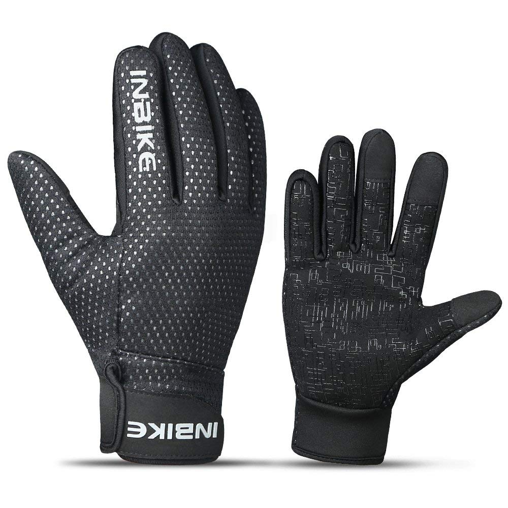 INBIKE Men's Windproof Touch Screen Bike Gloves Black