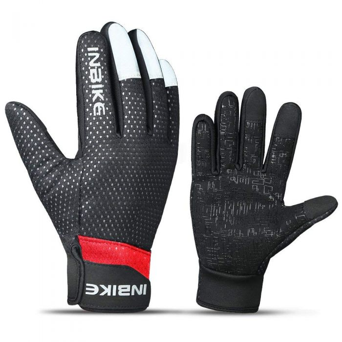 INBIKE Men's Windproof Touch Screen Bike Gloves Red