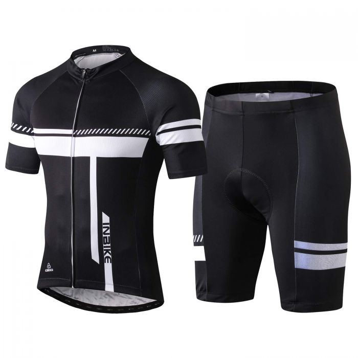 INBIKE Short Sleeve Cycling Jersey and Shorts Suit Black