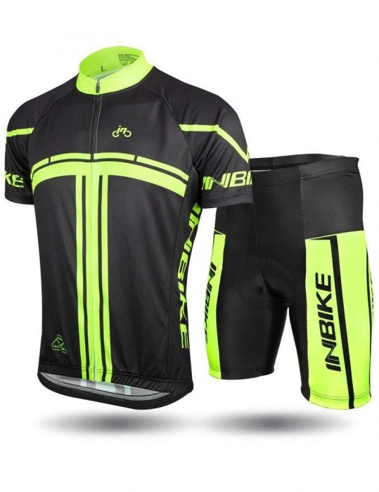 INBIKE Men Short Sleeve Cycling Jersey Set Black