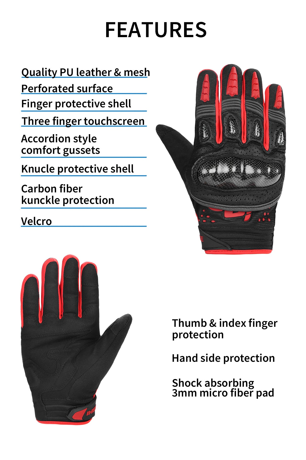 features of INBIKE urban motorcycle gloves