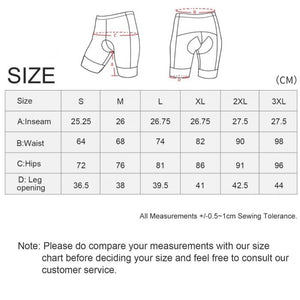 cycling shorts size chart
