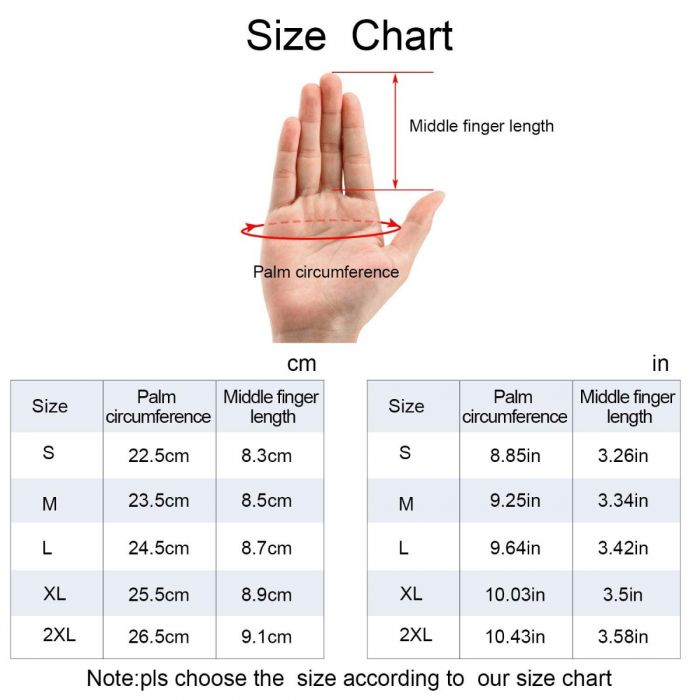 size chart gloves