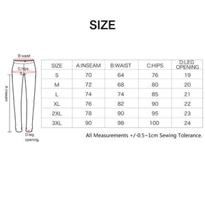 size chart bike pants