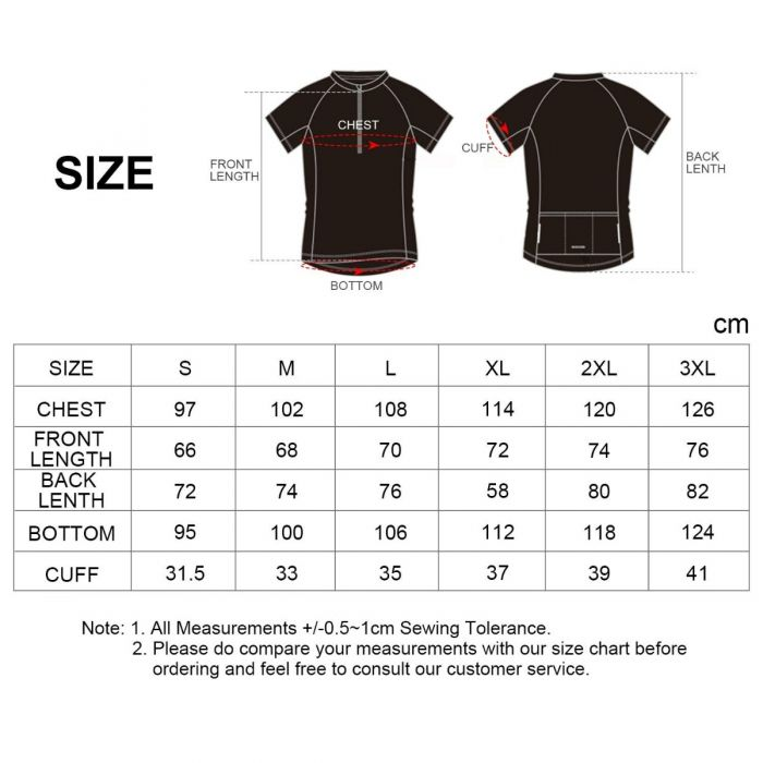 men's cycling jersey size chart