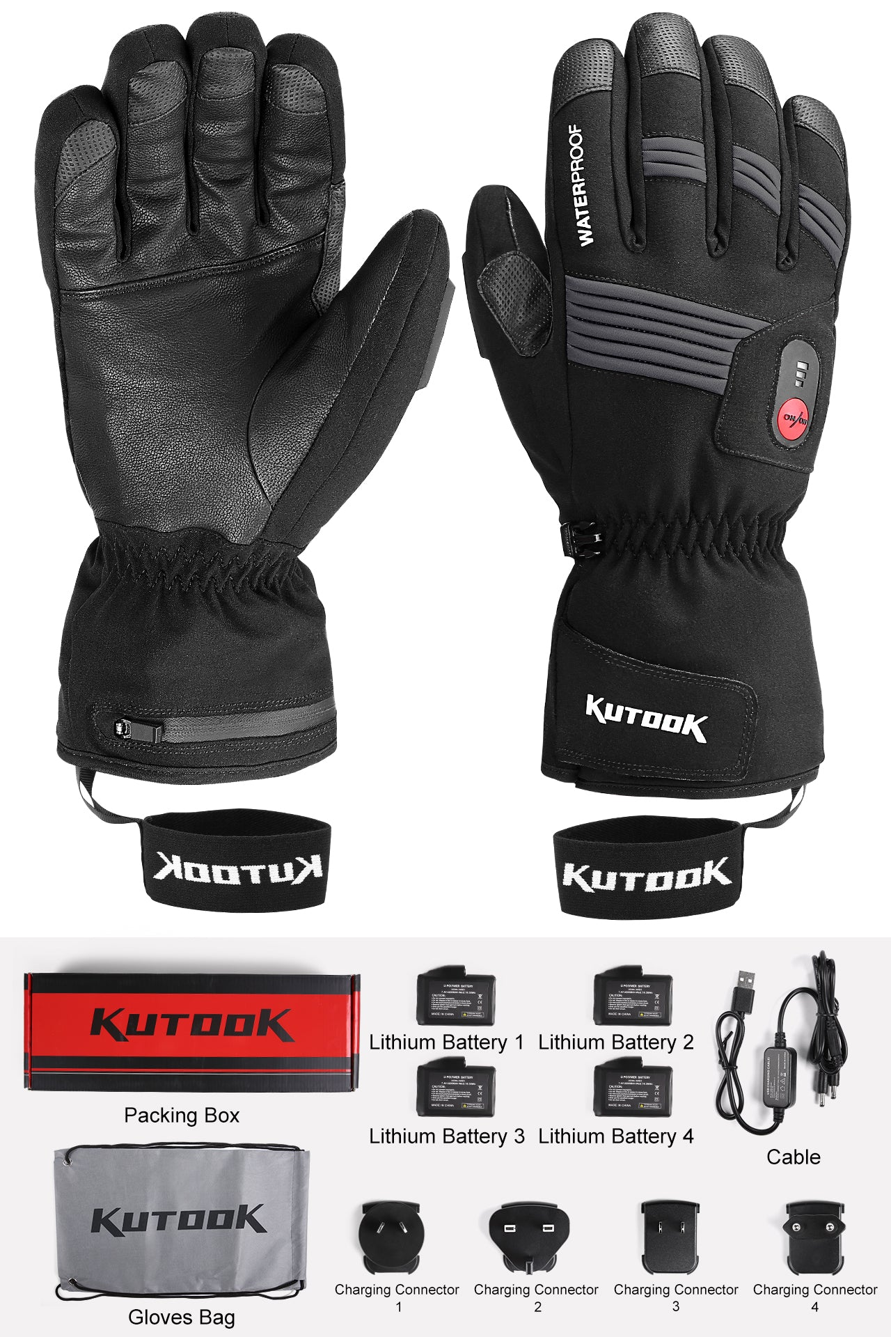 Kutook Electric Heated Glove for Skiing Motorcycling & Various Winter Activities