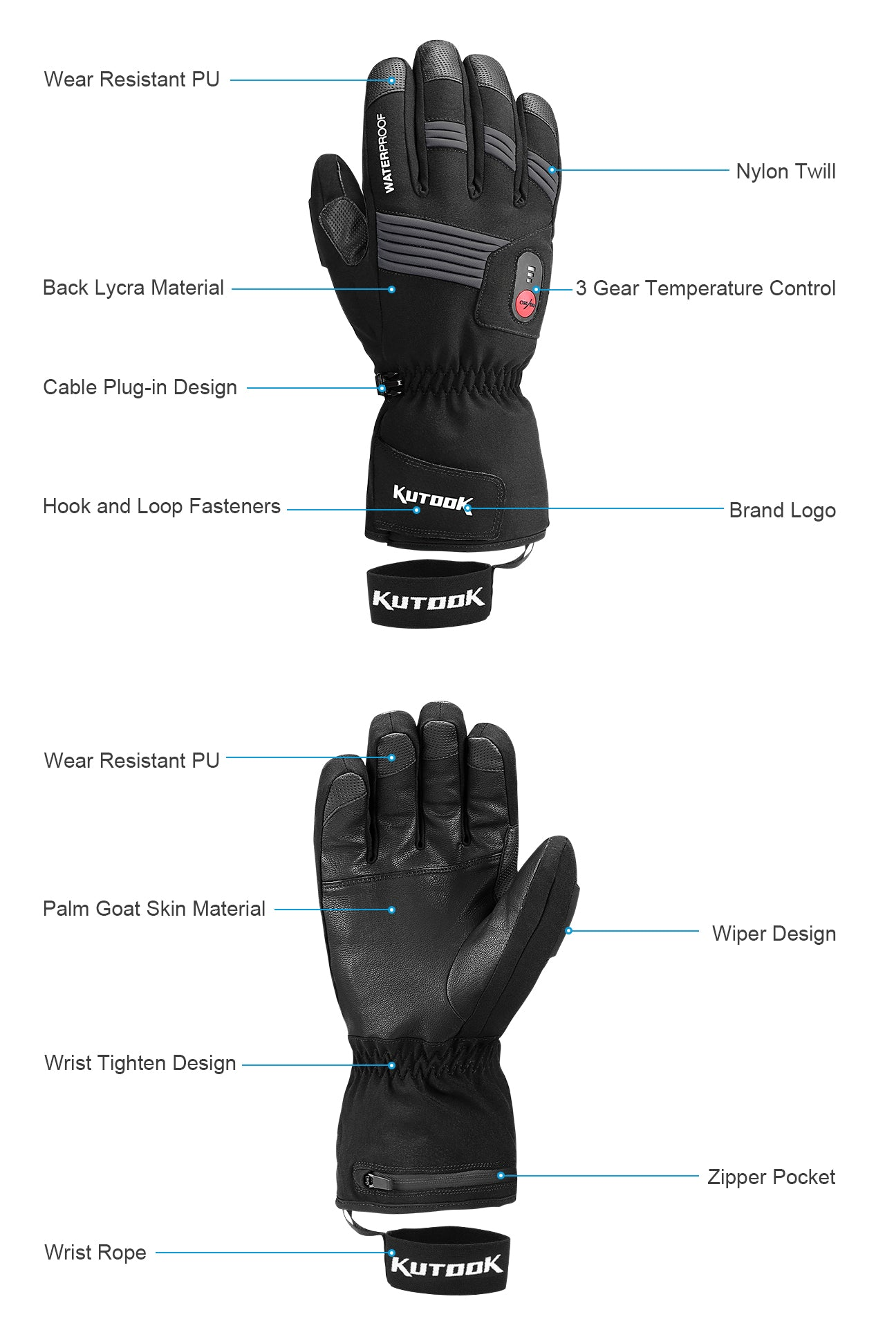 Kutook Electric Heated Ski & Motorcycle Glove