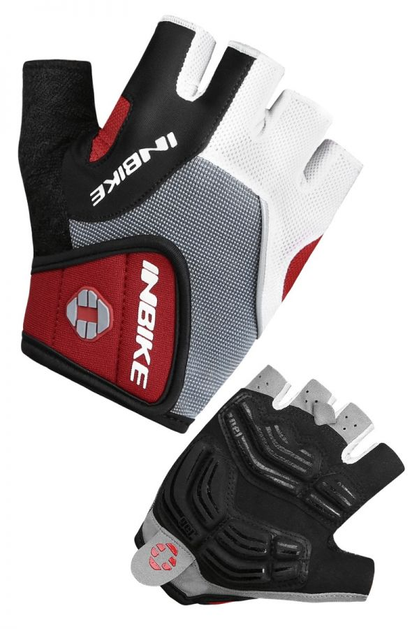 INBIKE Breathable Short Finger Bike Gloves Red