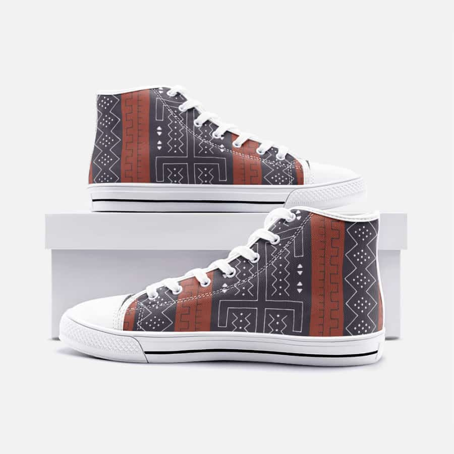 African Bogolan Mud Cloth unisex high top canvas shoes - Men's Shoes
