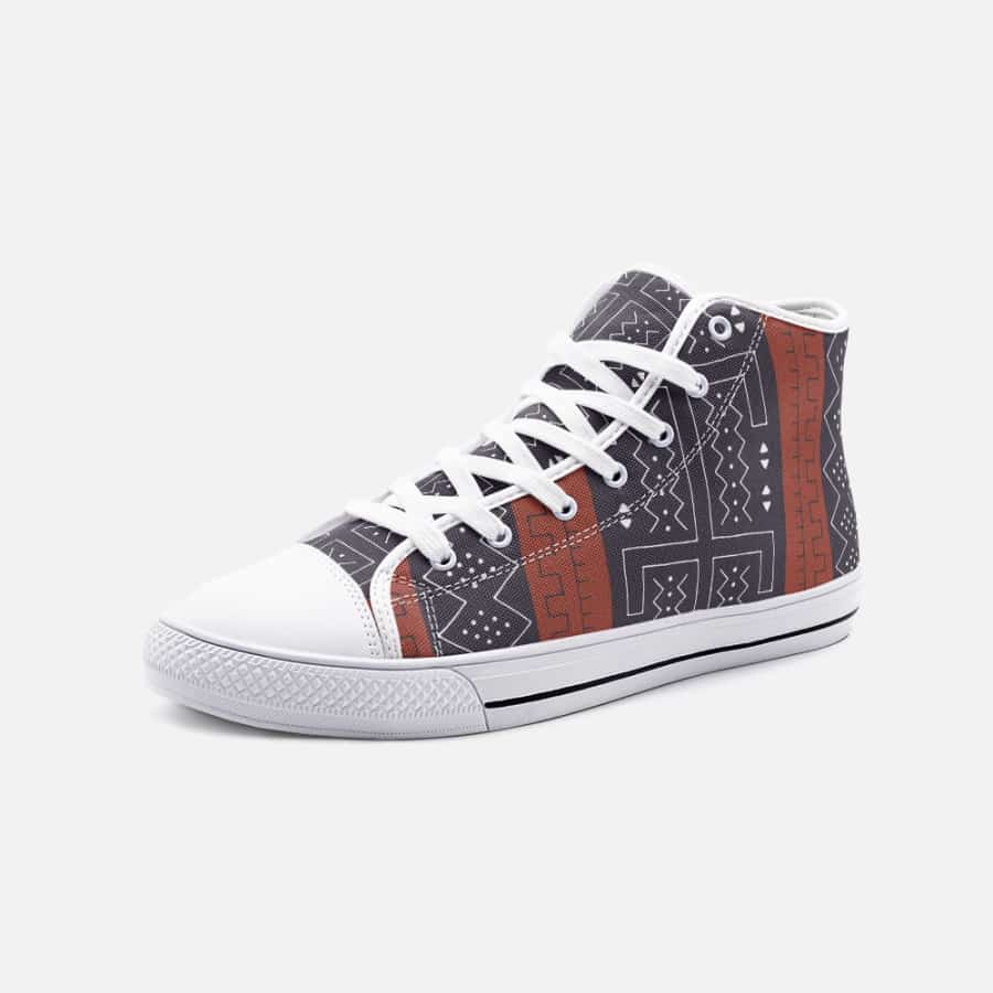 African Bogolan Mud Cloth unisex high top canvas shoes - 5 Women / White - Men's Shoes