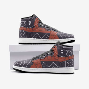 African Bogolan Mud Cloth unisex sneaker TR - 5.5 Women / White - Men's Shoes
