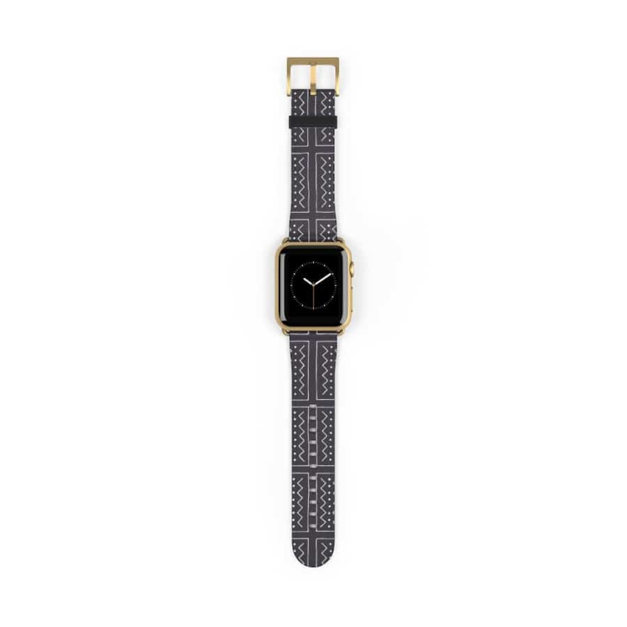 African Bogolan Mud cloth Watch Band - 38 mm / Gold Matte - Accessories