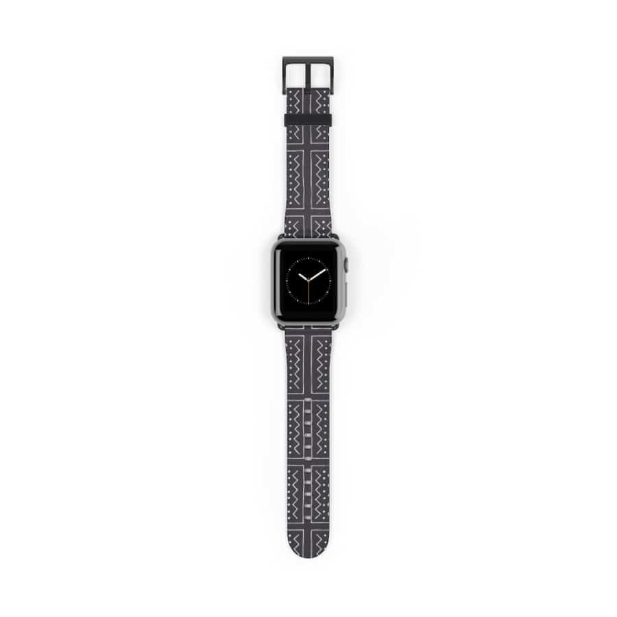 African Bogolan Mud cloth Watch Band - 38 mm / Black Matte - Accessories