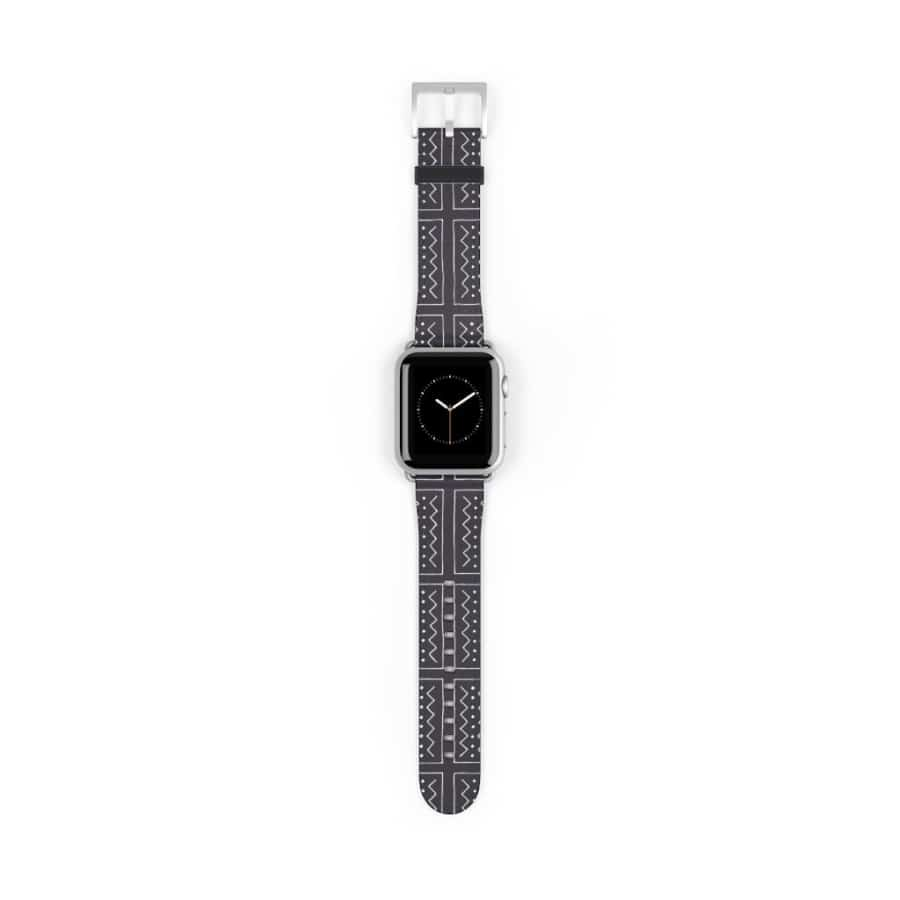 African Bogolan Mud cloth Watch Band - 38 mm / Silver Matte - Accessories