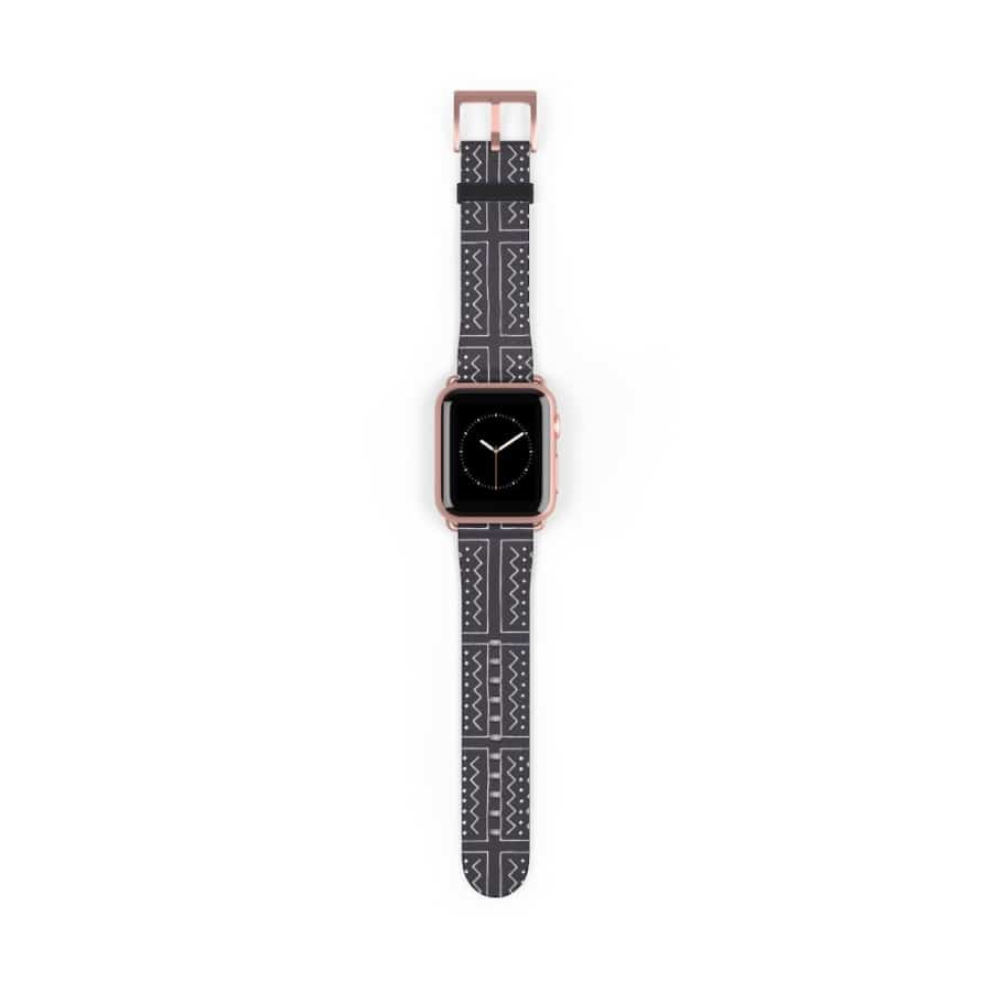 African Bogolan Mud cloth Watch Band - 38 mm / Rose Gold Matte - Accessories