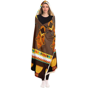 African Djembe Masks Hooded Blanket - Hooded Blanket - AOP