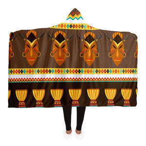 African Djembe Masks Hooded Blanket - Adult / Premium Sherpa - Hooded Blanket - AOP