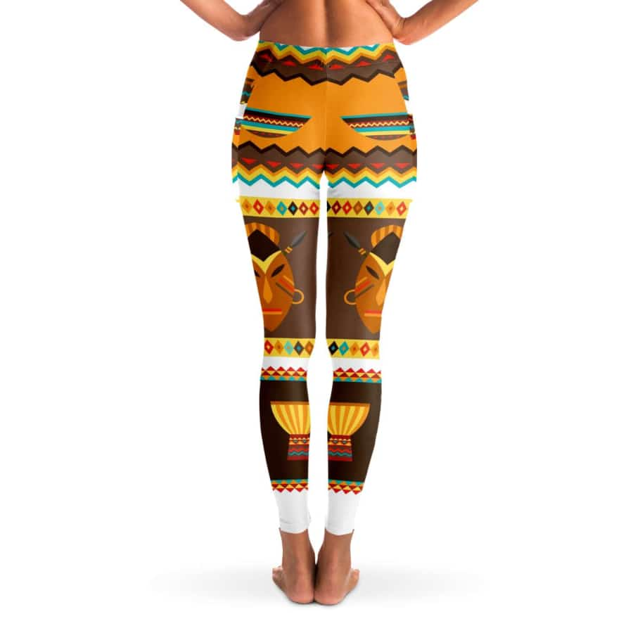 African Djembe Masks Mesh Pocket Legging - Mesh Pocket Legging - AOP