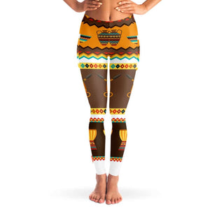 African Djembe Masks Mesh Pocket Legging - XS - Mesh Pocket Legging - AOP