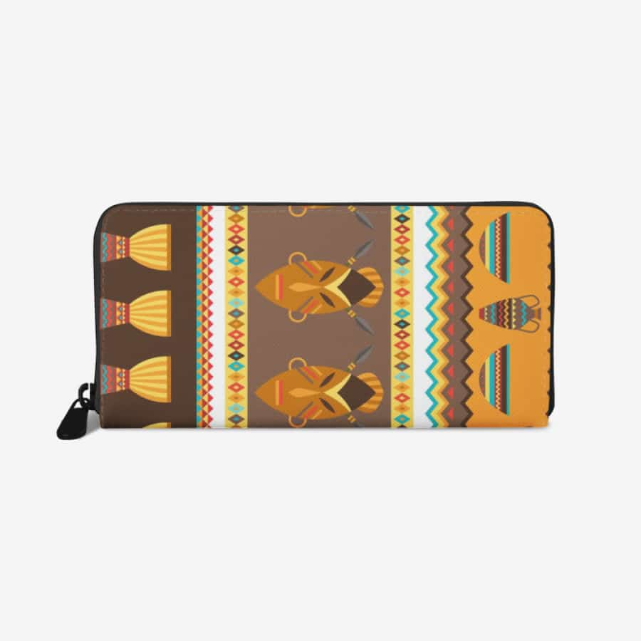African Djembe Masks premium PU Leather Wallet - White - Wallet