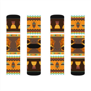 African Djembe Masks Sublimation Socks - L - All Over Prints