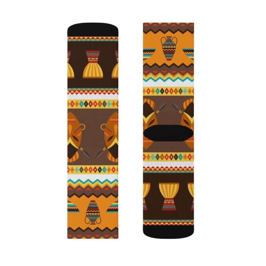 African Djembe Masks Sublimation Socks - All Over Prints