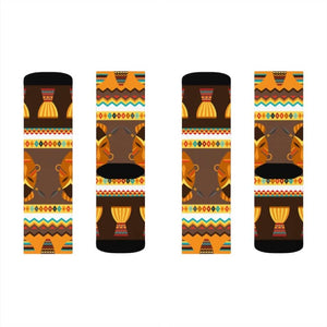 African Djembe Masks Sublimation Socks - S - All Over Prints