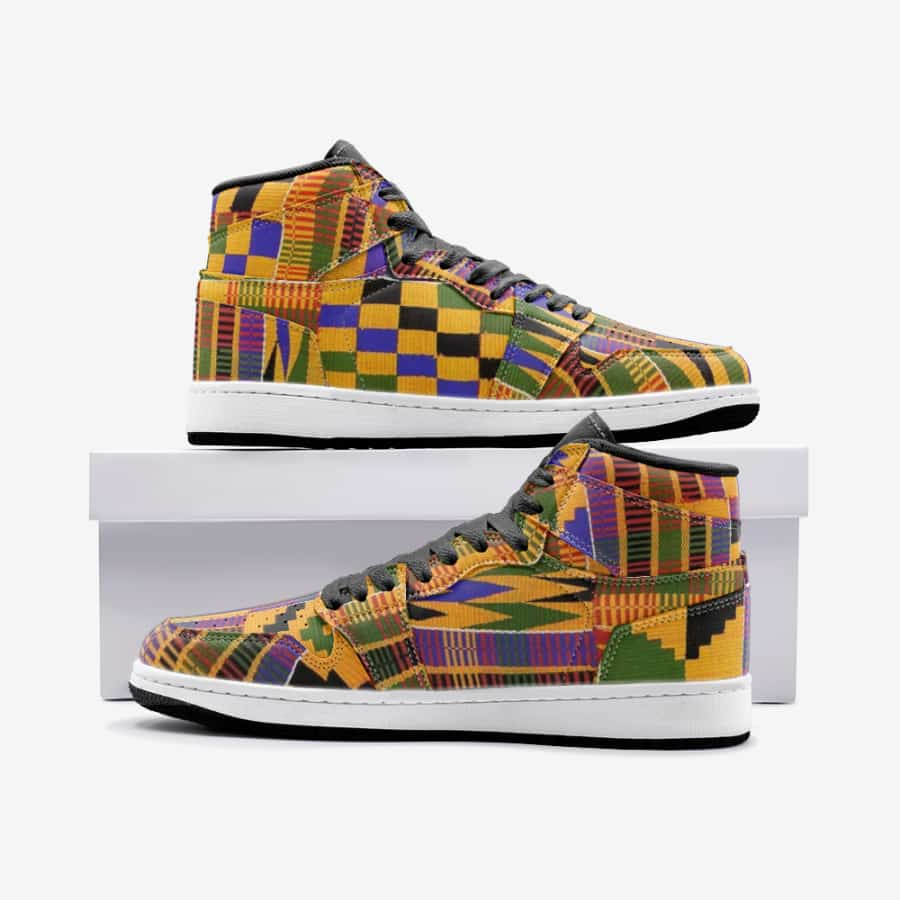 African kente Unisex Sneaker Shoes - 5.5 Women / White - Men's Shoes